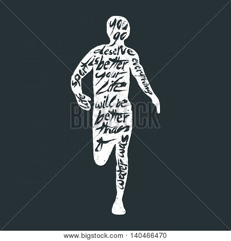 Typography monochrome vintage poster with runner silhouette, and hand drawn style fonts. Vector Illustration lettering.