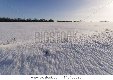 Freshly fallen snow on the Suffolk Hills in East Anglia, UK.
