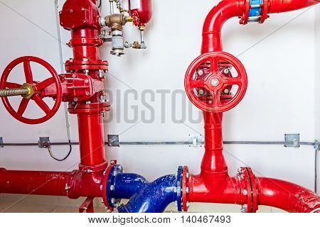 Industrial safety fire control system colorful water pipes with valve red and blue