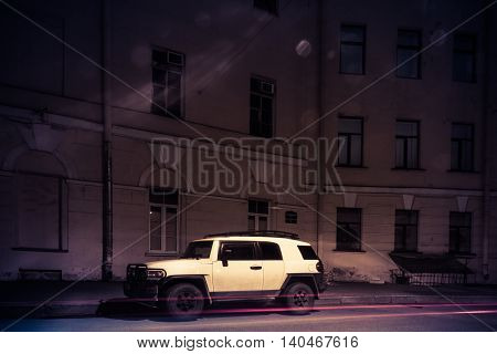 ST. PETERSBURG, RUSSIA - July 29, 2016: Toyota fj cruiser on the streets of St. Petersburg, the fj cruiser is a compact SUV from Toyota