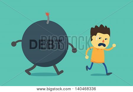 Man run away from debt bomb. This illustration is concept about not pay debt.
