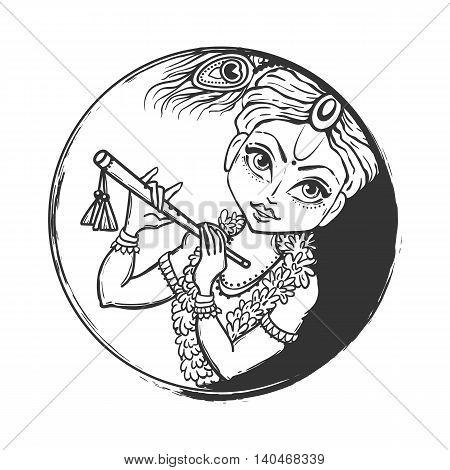 Ornament card with Lord Shri Krishna birthday. Illustration in vector art. Happy Janmashtami Day Hindu. Vedic Feast India. Use for banners, card, wallpaper, print. Cartoon little baby krishna image