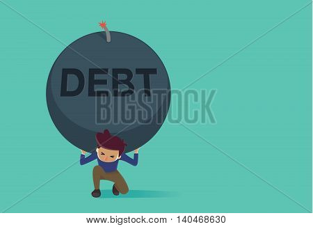 Man kneeling down on the floor because carrying a big bomb of debt on his shoulder. This Illustration is concept about credit card debt.