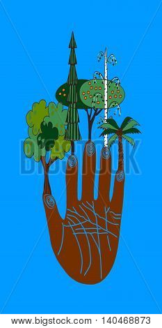 Fingers trees Vector colored illustration. Cute funny  color vector illustration