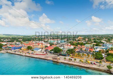 Kralendijk Bonaire - December 2 2011: On the waterfront Kralendijk stands a colorful houses containing hotels shops and restaurants. Kralendijk is the capital and largest city of the island Bonaire Netherlands Antilles.