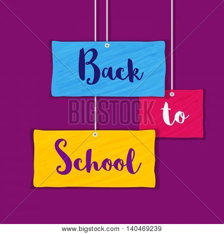 Back to school banner concept. Idea of welcome poster. Elements of border frame. Colorful papers hanging on clamps. Announcement to start study. Invitation to school background. Vector illustration