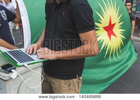 Kurdish Activists Protesting In Milan, Italy