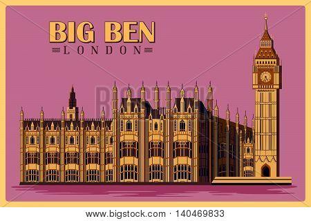 Vintage poster of Big Ben in London, famous monument of United Kingdom. Vector illustration