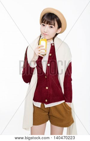 Pretty Girl Drinking Juice