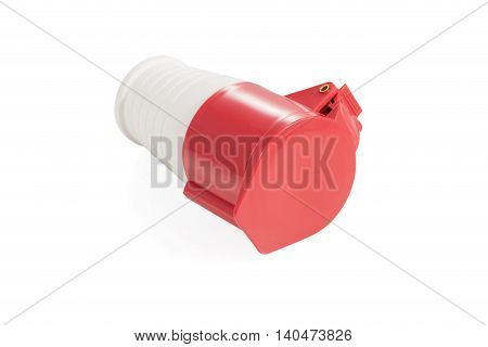 Powerful three-phase outlet enclosed cover isolated on white background