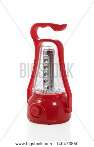 Plastic decorative luminaire with LED lamps of red color isolated on white background