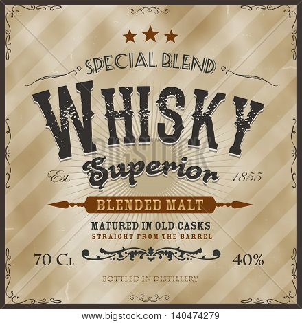 Illustration of a vintage design whisky label with western fonts specific product mentions textures celtic patterns on background