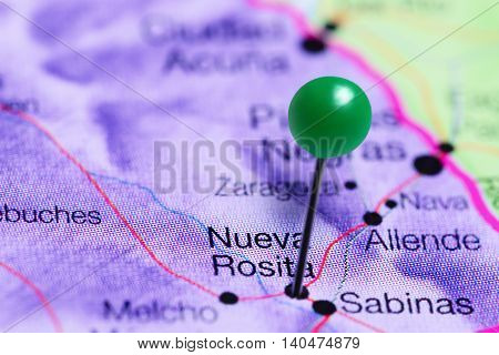 Nueva Rosita pinned on a map of Mexico