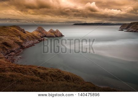 Three Cliffs Bay, a well known coastal beauty spot in South Gower, Swansea, South Wales.