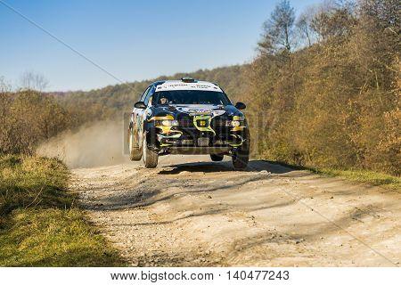 Lviv Ukraine - November 1 2015: Pavlo Kopylet's Seat Leon (No.17) competes at the annual Rally Galicia