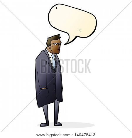 cartoon bad tempered man with speech bubble