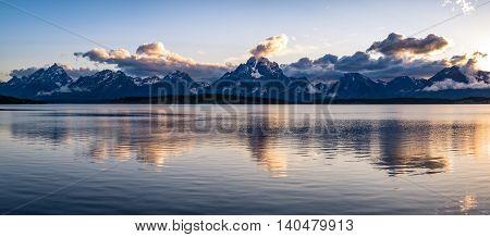 The amazing scene at Jackson Lake, Wyoming set in the Grand Teton National Park