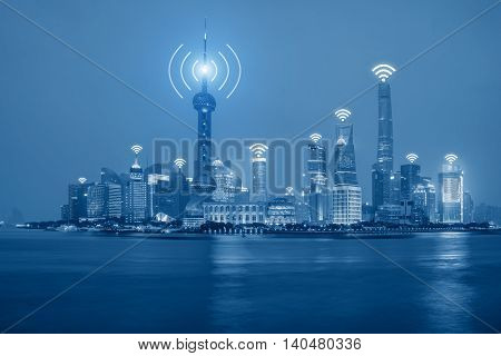 Wifi network technology concept - Wifi network connection in Shanghai center business district.