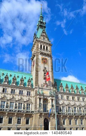 Hamburg Germany. The Town Hall in a sunny summer day