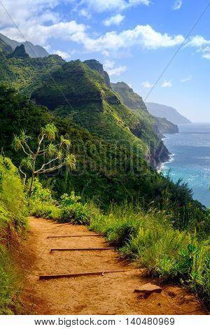 Landscape View Of Na Pali Coastline And Kalalau Trail, Kauai