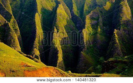 Panoramic Landscape View Of Spectacular Na Pali Cliffs, Kauai
