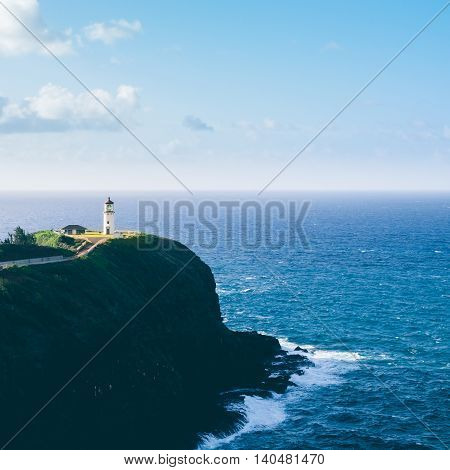Landscape view of Kilauea lighthouse on Kauai in filtered vintage style Hawaii USA