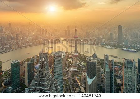 Aerial view of Shanghai skyline at Lujiazui Pudong central business center in Shanghai China.