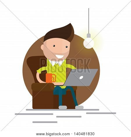 Character working from home with laptop sitting in armchair with a cup of coffee. Home office. Freelancer. Remote work. Vector concept illustration.