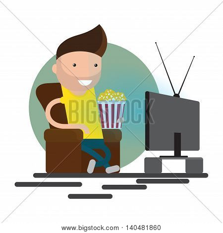 Man watching television on armchair. Sitting in chair, watching tv and eating. Vector flat illustration