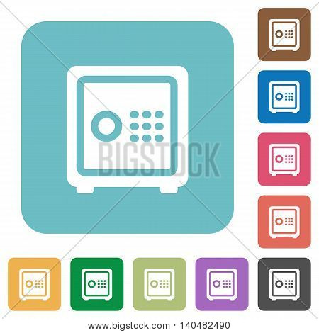 Flat strong box icons on rounded square color backgrounds.