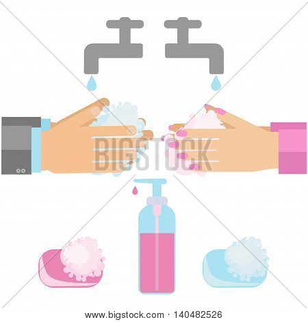 Hand washing with soap. Vector illustration of sanitary habit handwashing