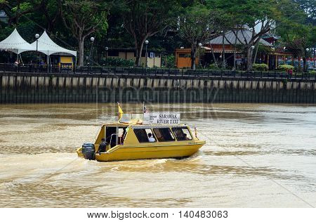 Sarawak River Taxi Boat On The River In Kuching City