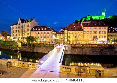 Ljubljanica river and Ljubljana castle evening view capital of Slovenia