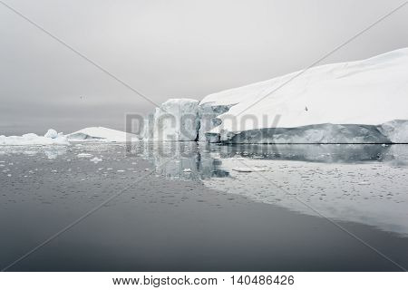 huge glaciers are on the arctic ocean in ilulissat, Greenland