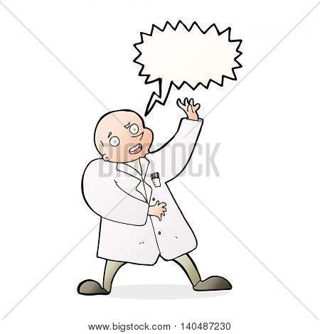 cartoon mad scientist with speech bubble