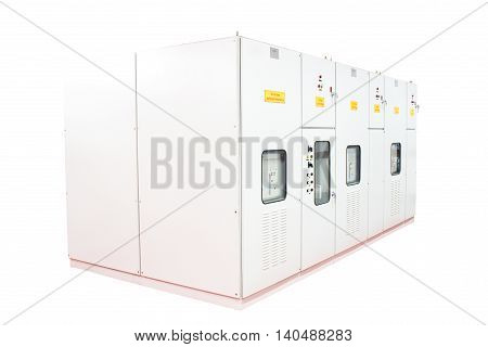 Capacitor bank cabinet in substation control room.