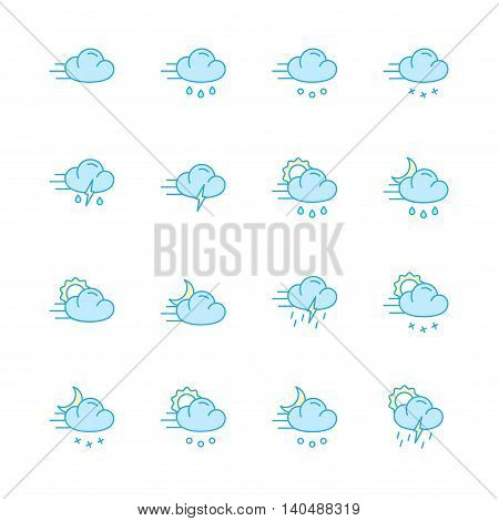 weather and meteo color flat icons set of 16