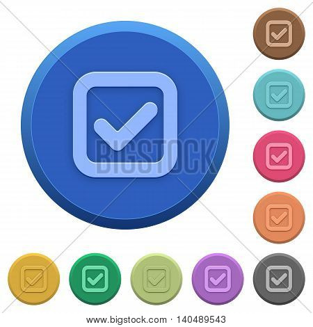 Set of round color embossed checkbox buttons