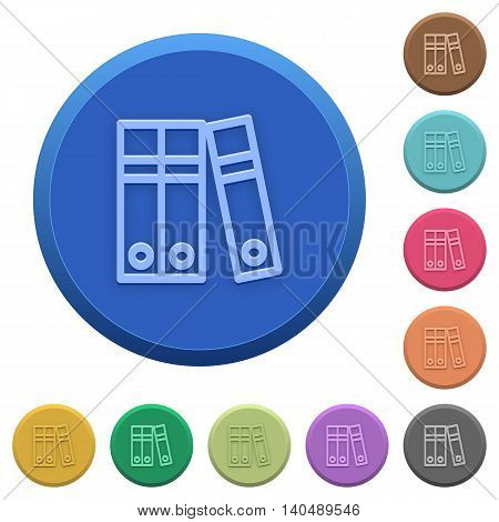 Set of round color embossed document folders buttons