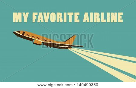 Vector illustration Card in retro style and colors on the subject of aviation and the airlines of the country soaring in the sky plane