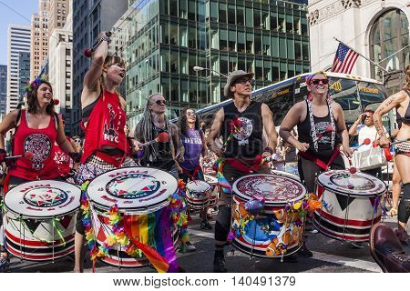 NEW YORK, USA - JUNE 25, 2016: Unidentified people at Dyke March in New York. This mostly lesbian led protest march was first held in Washington on April 24 1993