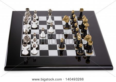 Black Board on a white background. Classic black and white pieces with metal heads. Game debut.