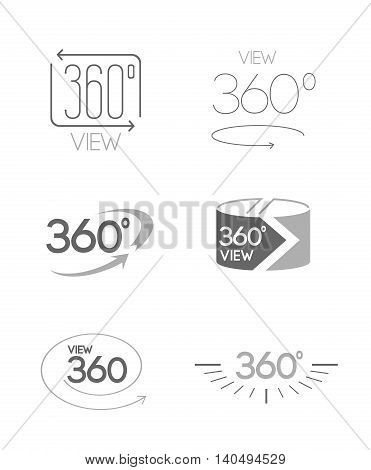 Simple Set of 360 Degree View Related Vector Icons. Shades of Gray. Geometry math symbol. Pixel-perfect.