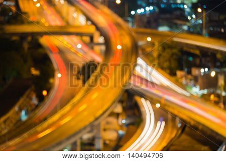 Blurred lights close up highway interchanged, abstract background