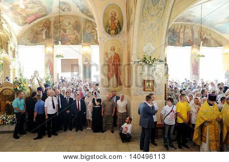 Orel Russia - July 28 2016: Russia baptism anniversary Divine Liturgy. Parisioners and government officials at sermon in orthodox church