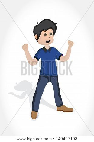 Cartoon happy young man character with open arms in the blus shirt and blue pants