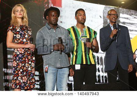 NEW YORK-SEPT 27: (L-R) Erin Heatherton, Kweku Mandela, Ndaba Mandela & Paul Kagame speak at 2014 Global Citizen Festival to end poverty by 2030 in Central Park on September 27, 2014 in New York City.