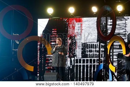 NEW YORK-SEPT 27: Prime Minister of Norway Erna Solberg speaks onstage at the 2014 Global Citizen Festival to end extreme poverty by 2030 in Central Park on September 27, 2014 in New York City.