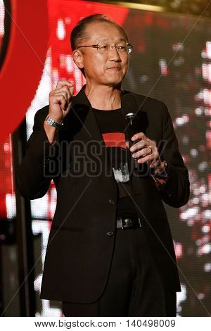 NEW YORK-SEPT 27: President of the World Bank, Jim Yong Kim speaks onstage at the 2014 Global Citizen Festival to end extreme poverty by 2030 in Central Park on September 27, 2014 in New York City.