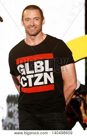 NEW YORK-SEPT 27: Actor Hugh Jackman onstage at the 2014 Global Citizen Festival to end extreme poverty by 2030 in Central Park on September 27, 2014 in New York City.